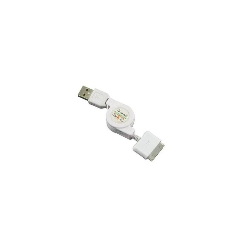 Cable Rétractable Compatible Apple Blanc